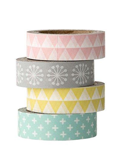 Bloomingville Tape, rosa grau gelb grün, Papier, 4er Set