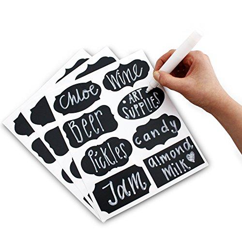 PrimeFolksCo. Tafeletiketten Aufkleber Set 48x Etiketten zum Aufkleben inklusive flüssigem Kreidemarker-Stift 8 verschiedene, angesagte Designs Perfekt für Marmeladengläser, Bier, Wein, Aufbewahrung und mehr