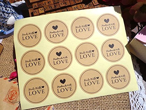 Lau&Home Aufkleber, rund, Handgefertigt mit Love & Made with Love Sticker, Handgefertigt