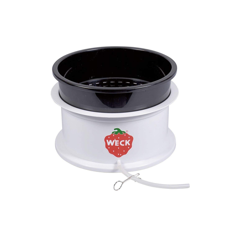 Weck Saftgewinner Kombination, Entsafter Aufsatz für Einkochautomaten ab 35 cm Ø, mit Deckel, Saftauffangbehälter aus robustem Vollkunststoff, Fruchtkorb mit Schlauchgarnitur