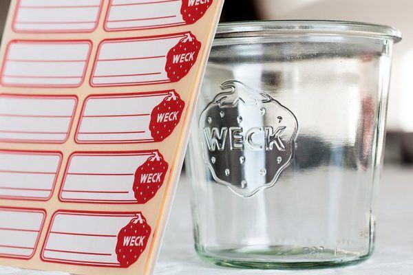 Weck Etiketten am Glas